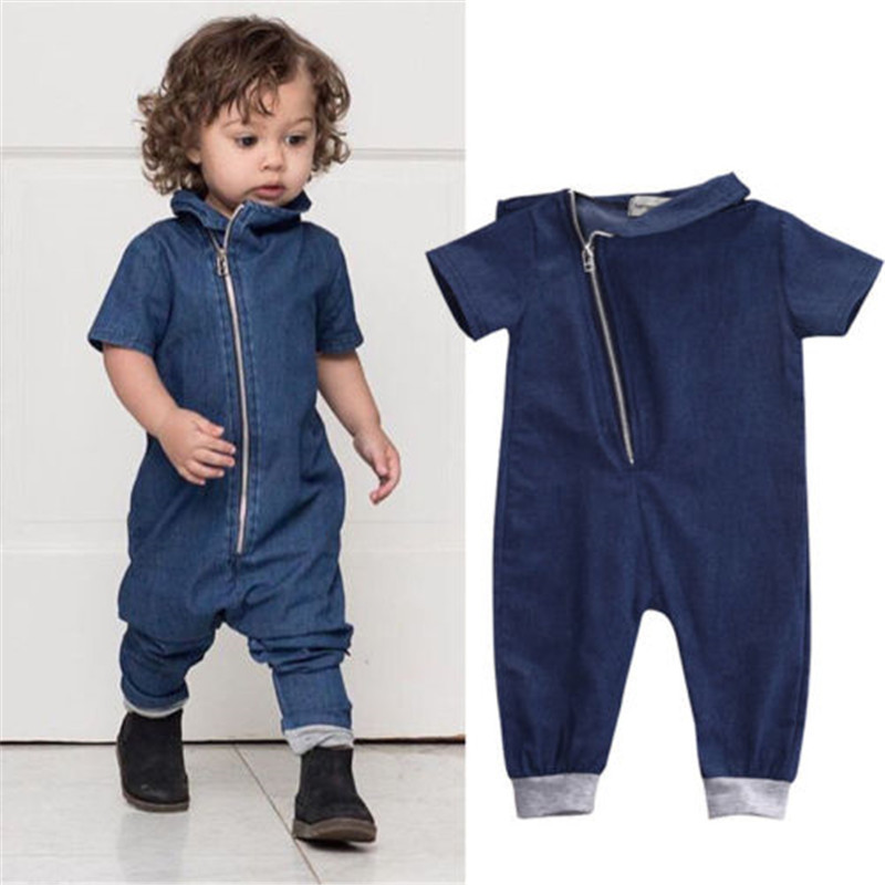 Newborn Toddler Infant Cute Baby Boy Girl Clothes Denim Long Sleeve Cotton Zipper   Romper   Jeans Jumpsuit Lovely Clothing Outfit