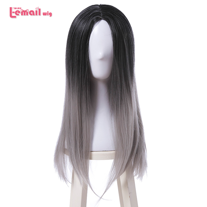 L-email wig 70cm/27.55inches Long Cosplay Wigs Mixed color Midsplit Style Synthetic Hair Perucas Cosplay Wig