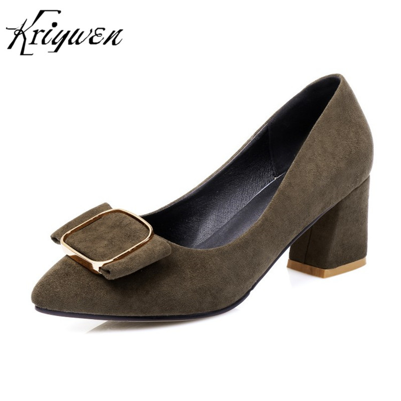 Kriywen Flock Buckle Decoration Women Classics Shoes High Heels Party Office Career Pumps Chunky Heels Footwear Plus Size 32-48