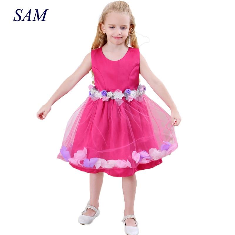 Anak-anak vestido infantil Gadis Gaun Bunga Kelopak Anak Bridesmaid - Pakaian anak anak