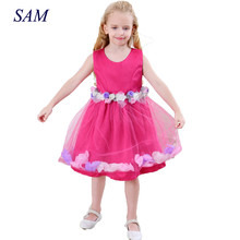 Kids vestido infantil Girls Flower Petals Dress Children Bridesmaid Toddler Elegant Dresses Pageant Wedding Formal Party Dress