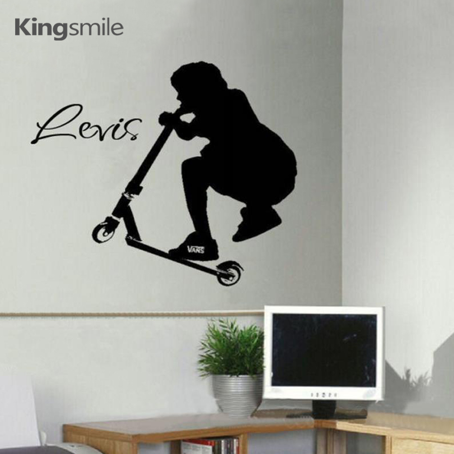 New large stunt scooter wall art sticker personalized name cartoon new large stunt scooter wall art sticker personalized name cartoon transfer decals kids teenage bedroom decorative size 65x55cm in wall stickers from home amipublicfo Gallery