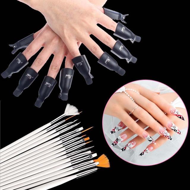 15x Nail Art Dotting Painting Polish Brush Set + 10x UV Gel Remover ...