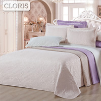 CLORIS Hot Moscow Delivery Europe White Cotton Three Piece Embroidered Bed Cover Quilt Vintage Bedding High Quality Luxury