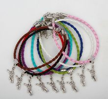 Hot 50pcs Vintage Silver Hockey Players Charms Pendant Mixed Color Braided Rope Bracelets Fashion Jewelry DIY For Women&Men S961