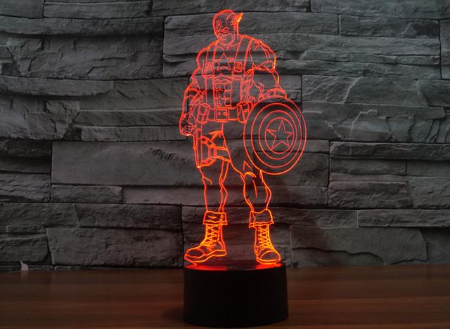 7-Color 3D Captain America Civil War LED Light (Visual illusion)