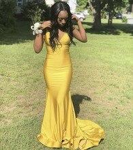 Cinderella Yellow V-Neck Spaghetti Straps Court Train Mermaid Evening Dresses Zipper Back Silk Satin vestidos de fiesta noche
