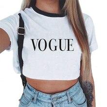 Fashion Women T-shirt VOGUE Letter Printed Harajuku Short Sleeve Crop Top 90s Aesthetic Women Cute C