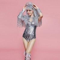 Z35 серебряное зеркало костюмы бальные танцы Танцы платье сексуальное боди этап комбинезон в виде кисточек наряд вечерние носит dj одежда Под