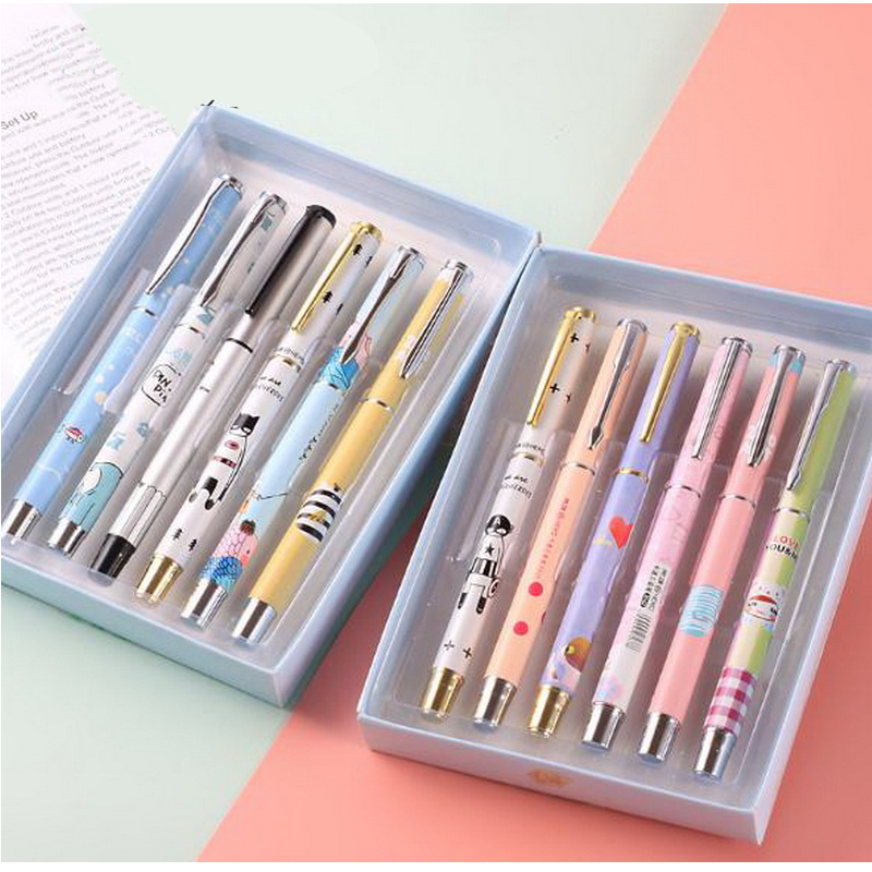 120722/Fountain pen primary school students child cartoon metal fountain pen gift box set/Electroplating paint