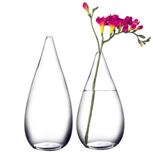 Europe Scrub glass vase Water drop shape glass container Transparent hydroponics flower vases Tabletop Crafts home Wedding decor