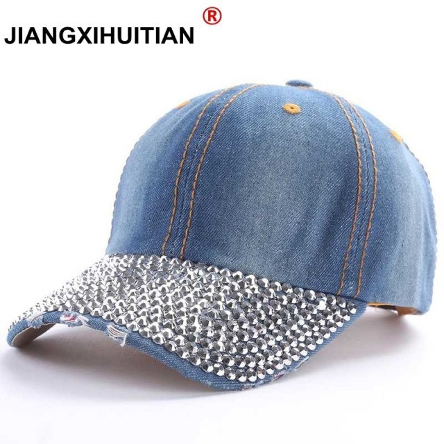 eed3287e6 US $4.94 10% OFF|GD luxury Baseball Caps 2017 New style Pure men and women  sun hat rhinestone hats denim and cotton snapback cap hip hop hat-in ...