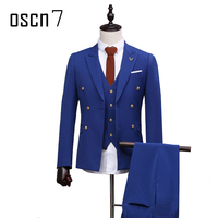 OSCN7 Blue Double Breasted Tailor Made Suits Gentleman Wedding 3 Pcs Custom Made Suit for Men Plus Size Casual Ternos Masculino
