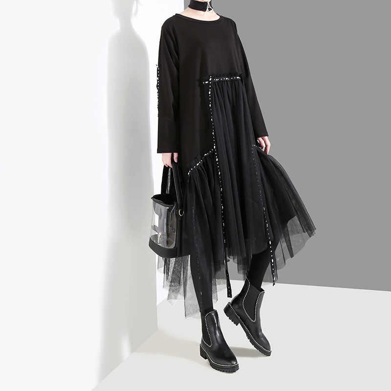 Juniature черное платье для женщин 2019 осень зима новый дизайн лоскутное кружево o-образным вырезом с длинным рукавом Повседневные однотонные женские платья