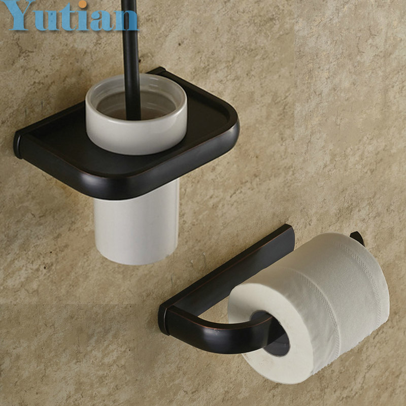 Free shipping,solid brass Bathroom Accessories Set,Paper Holder toilet brush holder,bathroom sets,Oil Rubbed Bronze YT-10400-2 free shipping solid brass bathroom accessories set paper holder toilet brush holder bathroom sets antique brassyt 12200 2