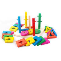 Baby Creative Montessori Educational Toy Wooden Tetris Blocks Building  Blocks Gift For Children Intelligence Development Toys