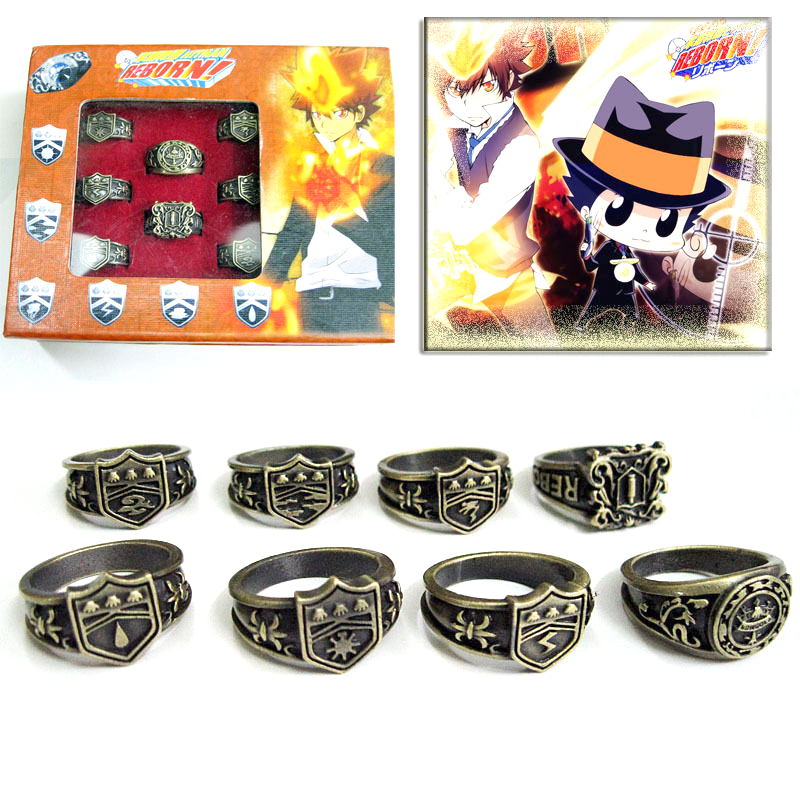 8pcs/set Top Anime Hitman Reborn Vongola Rings Vintage Metal Finger Ring Cosplay Charm Jewelry Unisex with Box Collection Gifts