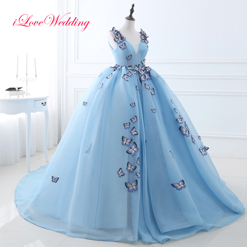2017 New Light Blue Ball Gown Prom Dress Sleeveless V-neck Net Tulle Butterfly Applique Lace Up Back Party Gown In Stocks