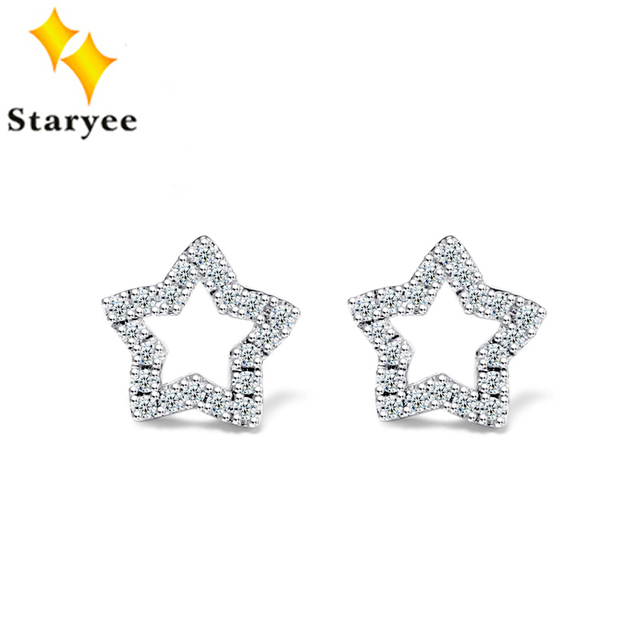 Certified 0 24ct 1pair Simulated Diamonds Brand 18k Solid White Gold Star Stud Earrings For Women
