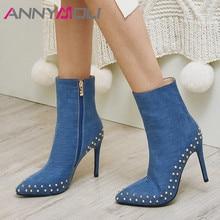 ANNYMOLI Women Boots Autumn Ankle Boots Denim Zipper Thin Heel Short Boots Rivets Super High Heel Shoes Ladies Spring Size 34-39 цена 2017
