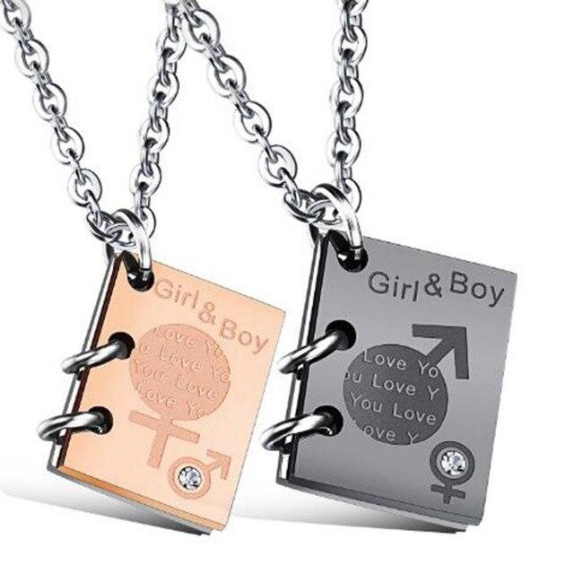 male and female symbol creative love letter pendant zircon stainless steel pendant boyfriens girlfriend