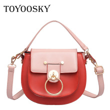 TOYOOSKY Retro Small Saddle Bag for Women Fashion Metal Ring Buckle Handbag Famous Designer Panelled Lady Leather Crossbody Bag ring detail saddle bag