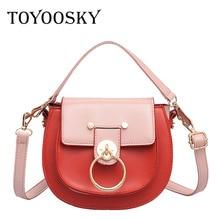 цена на TOYOOSKY Retro Small Saddle Bag for Women Fashion Metal Ring Buckle Handbag Famous Designer Panelled Lady Leather Crossbody Bag