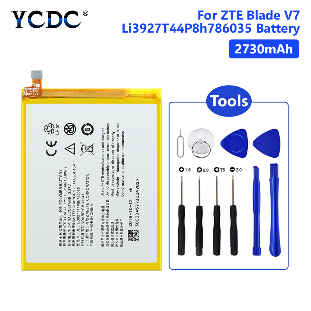 Replacement 2730mAh Battery Li3927T44P8h786035 For ZTE Blade V8 BV0800 Lithium Polymer Mobile Phone Batteries With ToolsReplacement 2730mAh Battery Li3927T44P8h786035 For ZTE Blade V8 BV0800 Lithium Polymer Mobile Phone Batteries With Tools
