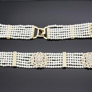 Image 2 - Luxuriant Women Bead Waist Chain Body Belly Chains Adjustable Length Jewelry India Bridal Nigeria Wedding Flower Pearl Belt 2018