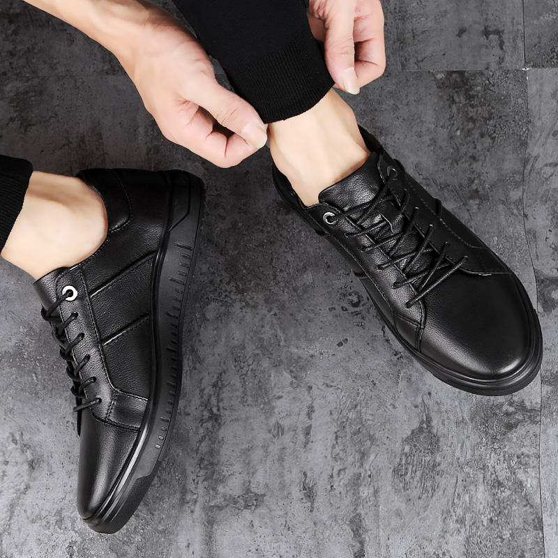 Herren Turnschuhe Leder Wasserdichte Casual Lace Up Walking Sportschuhe Sneaker