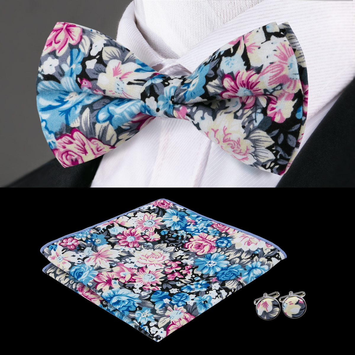 0f7ba75a3f36 F-678 Hi-Tie Floral Bow Tie Set Fashion Bowtie Pocket Square Cufflinks  Print Cotton Bow Ties For Men Butterfly Self Bow Tie