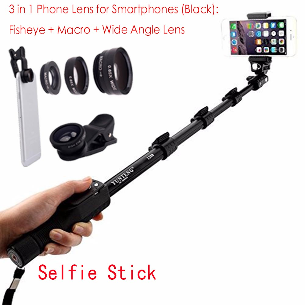 1288 Bluetooth Extendable Selfie Stick Telescopic Monopod + Fisheye Macro Wide Angle Phone Lens for Samsung Galaxy S6 Edge Plus