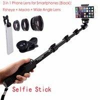 For Samsung Galaxy S9 S9 Plus 1288 Bluetooth Extendable Selfie Stick Telescopic Monopod + Fisheye Macro Wide Angle Phone Lens