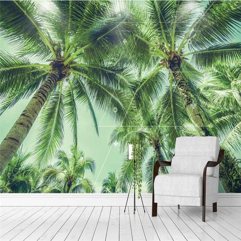 YOUMAN 3 d Custom Modern Photo Wallpaper Coconut Tree Palm Tree 3d Photos Hd Wall Mural Home Decor KTV Bar Room Decor Desktops giant family tree wall sticker vinyl art home decals room decor mural branch baby wall stickers for kids room wallpaper
