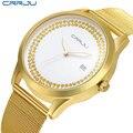 Marca de lujo mujeres del reloj de oro relojes de diseño moda CRRJU ocasional minimalista pulsera de acero inoxidable de la mujer reloj de vestir