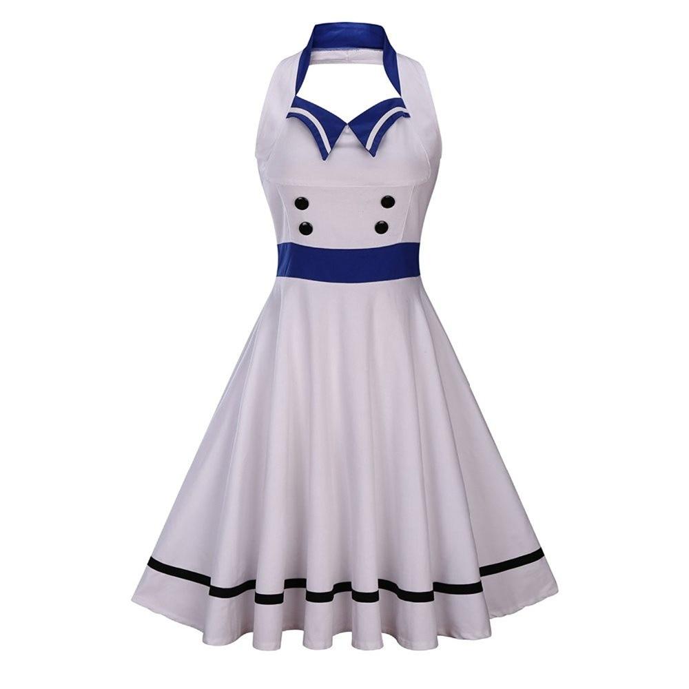 Women Sailor Dress Halter Elegant Dress Button up Knee ...