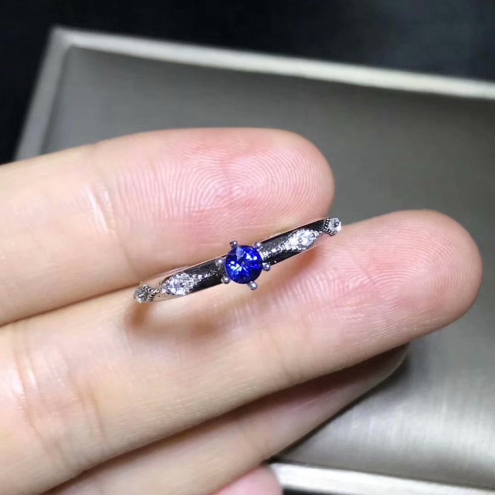 Natural blue sapphire gem Ring Natural gemstone ring S925 silver Elegant delicate Slender women girl gift party fine Jewelry pair of delicate gemstone embellished ring leaf shape women s earrings