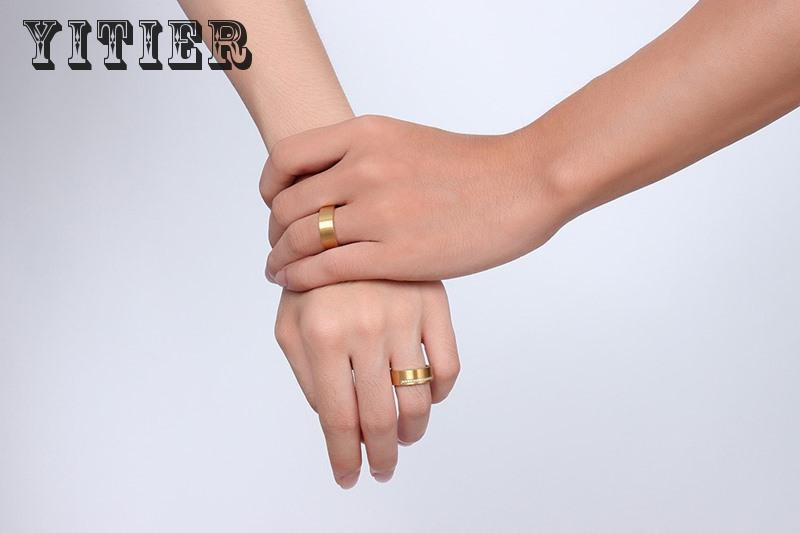 2 Pcs/lot Mix Size Women Men Lovers Couple Stainless Steel High Polished Romantic Rings New Plated Gold Jewelry Trend 7mm Cr-114