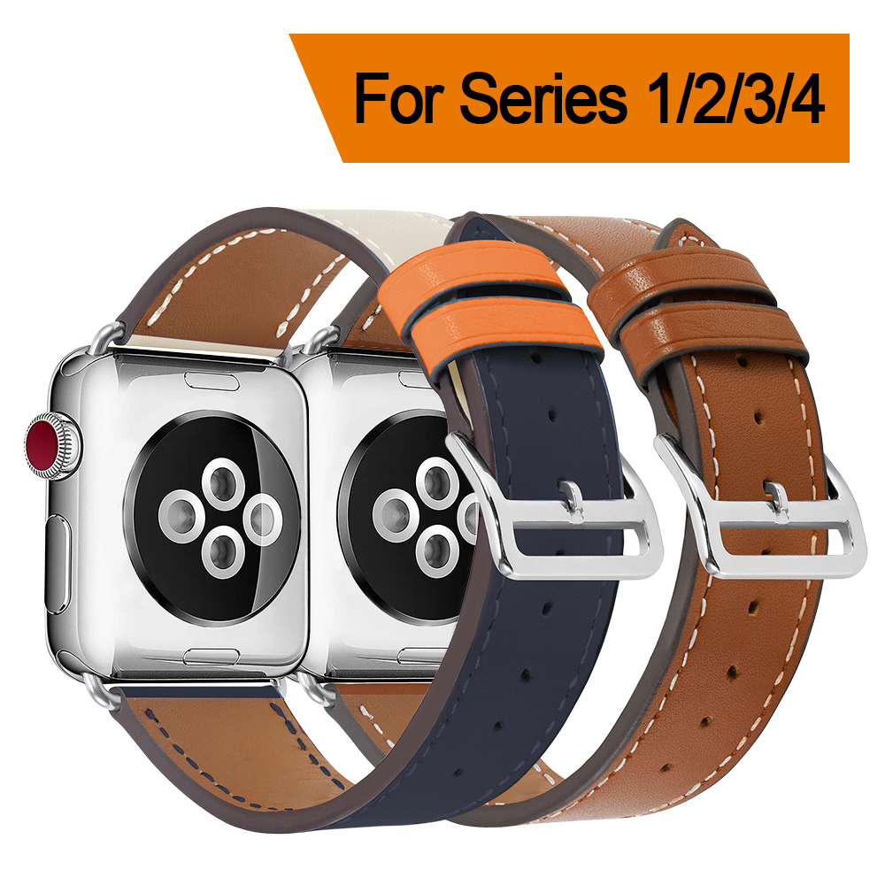 Leather Band For Apple Watch Series 4 40mm 44mm Black Brown Red High Quality Bracelet Strap For iWatch 38mm 42mm Series 1&2&3 quality 390a 2 38mm