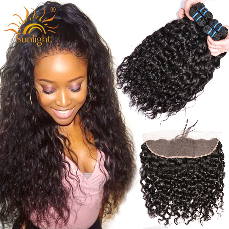 Sunlight 3pcs Brazilian Water Wave Human Hair Bundles With Frontal Closure 13x4 Lace Frontal With Bundles