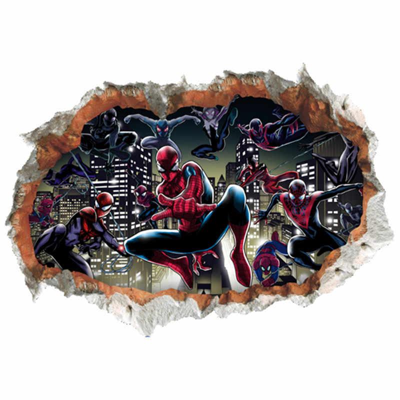 Marvel Spider Man broken wall enter kids room 3d vinyl stickers super hero movie poster home decoration anime wallpaper 70*50cm