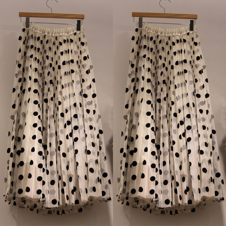 Fashion 2019 Summer New Polka Dot Mesh Skirt Women Vintage Beach High Waist Pleated Skirts Loose A-Line Casual Maxi Skirts