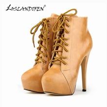 LOSLANDIFEN Ladies PU Leather High Heels Lace Up Platform Stiletto Autumn Winter Ankle Boots Matt Shoes