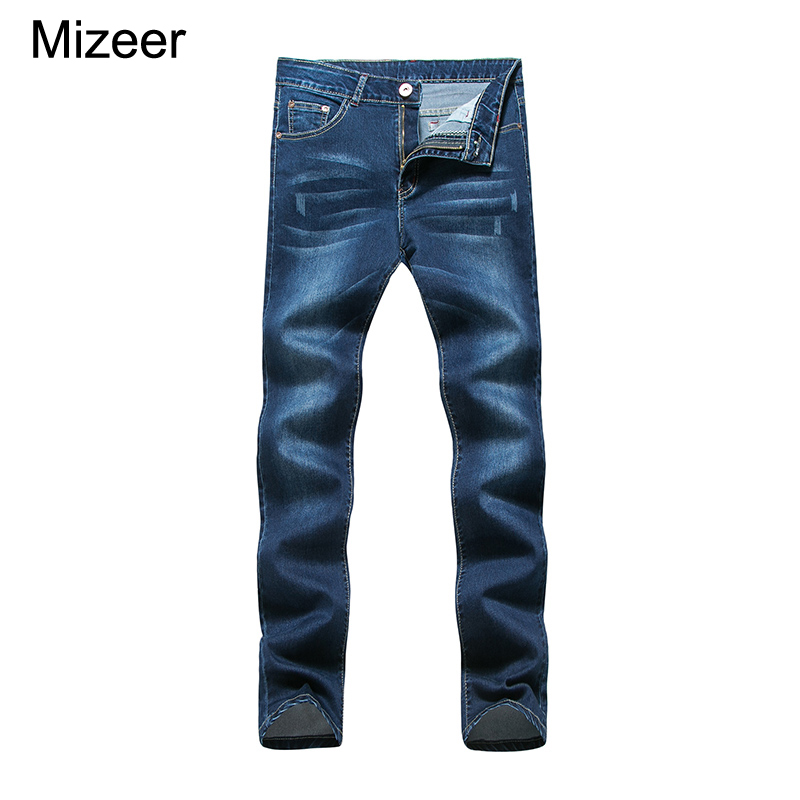 2017 New Casual Men Jeans Multi Pocket Pants Stretch Denim Jeans Denim Blue Rise Trousers  Indigo Pants Jeans Big Size 28-38 2016 new mens jeans pants elastic mid rise straight men clothing tops trousers deep blue casual trousers cool stretch men jeans