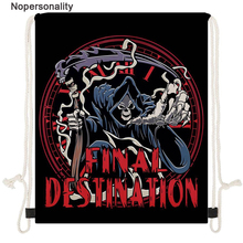 Nopersonality Cool Grim Reaper Print Men Cinch Sack Polyester Storage School Gym Drawstring Bag Sack Pack Boys Rucksack Pouch