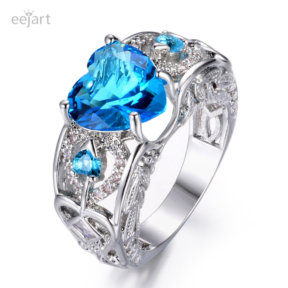 New Fashion Silver Natural Birthstone Bride Wedding Engagement Heart Ring Delicate Drop shipping