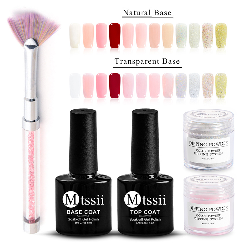 Mtssii 15pcs /set Dipping Powder Without Lamp Cure French Nail Natural Color Holographic Glitter Nail Art DIY Salon Decorations