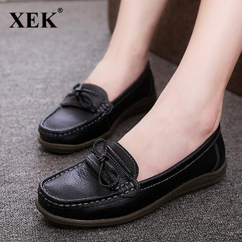 Genuine Leather Women Shoes 2017 Hot Sales Comfortable Flats Round Toe Moccasins Loafers Slip On Fashion Bow Flat Shoes  XC12 hot high quality men loafers leather round toe slip on casual shoes man flats driving shoes hombre zapatos comfortable moccasins