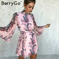 BerryGo Sexy Floral Backless Chiffon Dress Women Flare Sleeve Print Mini Dress Casual Lace Up Short