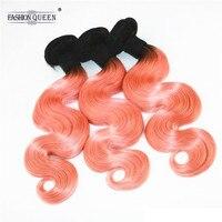 Модные queen hair Ombre бразильский объемная волна волос 3 Связки человеческих Инструменты для завивки волос T1B/оранжевый натуральные волосы Связк